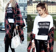 Sheinside White Sweatshirt, River Island Checkered Cape