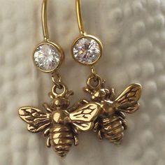 Bee Earrings in Bronze Queen Bee, Honey Bee, Bee Lover, CZ Ear Wires in Bronze and 14k Gold Fill Bee Dangle Earrings, Bee Jewelry on Etsy, $36.00