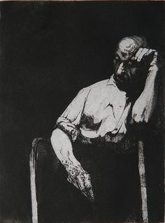 Sigmund Abeles - Deep Thinking, The Artist's Father, etching with drypoint, signed in pencil, 7 3/4 x 5 3/4''.