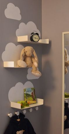 Cloud shelves for the kids room - just a little bit of white paint and some simple and inexpensive bathroom shelves from Ikea (Enudden series) Baby Bedroom, Baby Boy Rooms, Baby Room Decor, Nursery Room, Girls Bedroom, Nursery Decor, Kids Rooms Decor, Kid Bedrooms, Room Baby