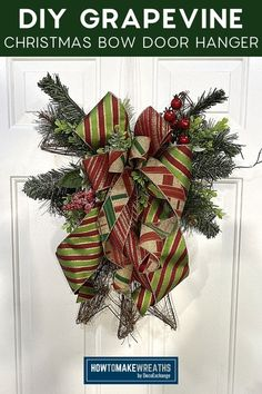 Learn how to upcycle a grapevine bow into something fabulous! This makes for a wonderful everyday decor for your front door! Grapevine Christmas, Christmas Bows, Front Door Decor, How To Make Wreaths, Door Hangers, Grape Vines, Upcycle, Diy Crafts, Doors