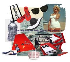 Bringing Sexy Back!! by dmlougheed on Polyvore featuring polyvore fashion style Tory Burch Denim & Supply by Ralph Lauren Helene Berman Rebecca Minkoff Dsquared2 Emporio Armani Estée Lauder Diane Von Furstenberg D&G clothing marilyn monroe white red beach towel blue floppy hat swim suit flip flops beach marilyn
