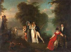 Ecole française du début du XIXème siècle Détente au jardin Huile sur toile 150 x 200 cm