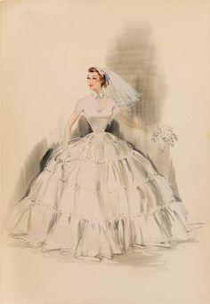 "Edith Head sketch for Debbie Reynolds in ""The Pleasure of His Company"" -- 1961"