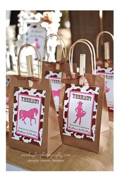 Cowgirl party favors (cute clothespin and ribbon!) You could also dress up like a cowgirl. Great reason for a get together party. Cowboy Party, Cowgirl Party Favors, Party Favor Bags, Goodie Bags, Treat Bags, Party Favours, Gift Bags, Horse Birthday Parties, Cowgirl Birthday
