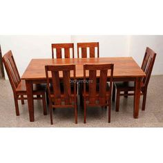 Amazing Large 6 Seater Wooden Dining Set In Sturdy Construction