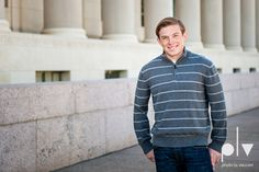 Andrew high school football player senior photos pictures downtown Fort Worth Trinity Park fall winter session sweater boy guy model Photo La Vie post office