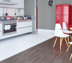 Espaços neutros dão mais liberdade na hora de escolher móveis e objetos despojados e coloridos.   Ref. PS33690 | 35x35 cm | Acetinado #inspiração #cozinha #revestimento #incefra #grupofragnani #pisoceramico #kitchen #decor #piso #decoracao