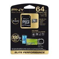 PNY-COMPUTER COMPONENTS-SD Card-Pny Elite Performance Class 10 microSD Memory Card - 64 GB-£54.99-With a huge 64 GB capacity and light speed transfer rates, the PNY Elite Performance Class 10 microSD Memory Card is perfectly designed for 4K action camcorders. The elite performance microSDXC Memory Card boasts a rapid 30 Mbps write speed, sending information from camera to card quickly and efficiently. The 100 Mbps read speed also makes for a speedy transfer from card to computer. The 64 GB..