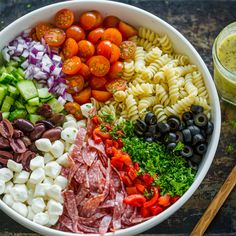 Pasta Salad is perfect for meal prep because it can be made ahead. The flavors of this Italian Pasta Salad are so satisfying with rotini pasta, salami, mozzarella cheese, olives and the best ever home Best Ever Pasta Salad, Chicken Salad Recipes, Salad Recipes Video, Pasta Salad With Chicken, Rotini Pasta Recipes, Homemade Pasta Salad, Recipe Pasta, Homemade Italian Dressing, Italian Dressing Recipes