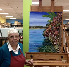 Carmen Gorski  showing finished painting from my class at Jerry's Artaraa in Houston, Texas. Awesome