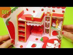 DIY miniature dollhouse room - strawberry room decor !! - YouTube