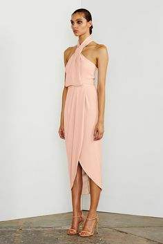 Shona Joy dress - core knot draped dress - Dusty Pink