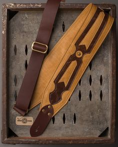 "Leather Inlay Series ""Arrow"" 3"" rustic gold/brown leather guitar strap"