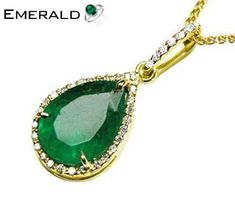 Stylish emerald gold pendant for your gorgeous look. Emerald Pendant, Emerald Jewelry, Emerald Gemstone, Turquoise Jewelry, Gold Pendant, Gemstone Rings, Pendant Necklace, Colombian Emeralds, Pear Shaped