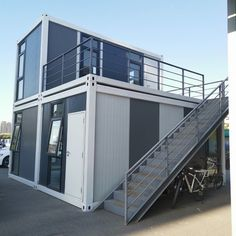 We love this design. The future is box shaped. Prefabricated Houses, Prefab Homes, Cabin Homes, Waterproof Wall Panels, Fiber Cement Board, Portable Toilet, Aluminium Windows, Metal Beds, Garden Office