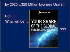2020 - 350,000,000 Lyoness Users Lyoness has hit its goals in the past...So, how big of a piece of the future do YOU want??  Get it here>>http://www.mylyconet.com/goldcard/