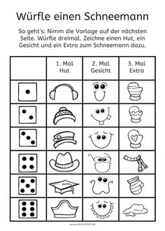 Schneemann Würfelspiel - New Ideas Nose Problems, Christian Religions, Teaching Activities, Teaching Ideas, Filofax, Special Education, Kids Learning, Elementary Schools, Christmas Fun