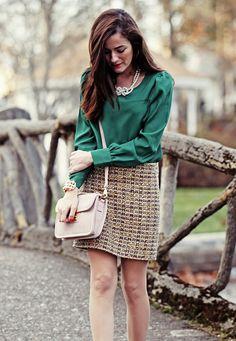 Kiel James Patrick. Love the tweed skirt and jewel tone blouse combo