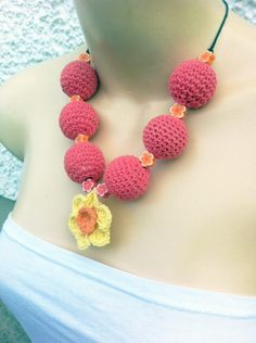 Daffodil Necklace Kit with crochet balls and floral beads - Only - £5.99