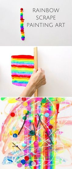Rainbow Scrape Painting Art. Colorful and easy art for kids. Watch the fun video tutorial included!
