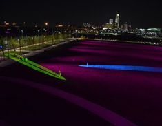 Rivers Edge Park in Council Bluffs at night. Council Bluffs Iowa, Interactive Art, Background Information, Light Architecture, Lighting Design, Landscape, Park, Rivers, Led