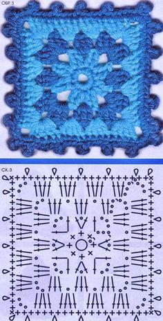 68 Ideas Crochet Hat Flower Blankets For 2019 Crochet Motifs, Granny Square Crochet Pattern, Crochet Diagram, Afghan Crochet Patterns, Crochet Chart, Crochet Squares, Crochet Granny, Diy Crochet, Granny Squares