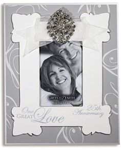 One Great Love offers frames embellished with a ribbon and rhinestone charm and silkscreened with a sentiment of love. This silver photo frame makes a beautiful gift to commemorate a 25th Wedding Anniversary.   #DCP #CatholicProducts #Love #AnniversaryGift Love Anniversary, 25th Wedding Anniversary, Ribbon Wall, Catholic Prayers, Sacred Art, Great Love, Frames, Gift Wrapping, Faith