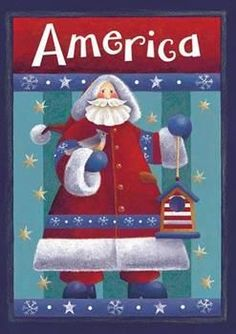 "Red White and Blue Santa Christmas House Flag, Size 28"""" x 40"""""