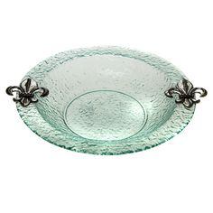 Glass Round Fleur de Lis 14-inch Bowl - Overstock™ Shopping - Great Deals on Thirstystone Serving Bowls