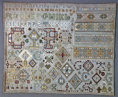 Dutch Sampler ~ CP ~ 1696 ~ silk embroidery on linen foundation and its technique is embroidered in satin, padded satin, stem, eyelet, feather over withdrawn element work, four-sided (square), cross, and whipped running stitches on plain weave foundation ~ Cooper Hewitt Museum