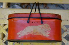 Early 1900s Antique Tin Lunchbox in Red and Cream by alpineheart