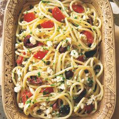 Spaghetti with Tomatoes, Black Olives, Garlic, and Feta Cheese | Feta complements the tomatoes beautifully, and the heat of the pasta and hot garlic oil make the cheese meltingly soft. (Feta Cheese Making)