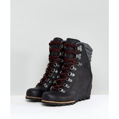 Sorel Conquest Black Wedge Lace Up Boots (380 AUD) ❤ liked on Polyvore featuring shoes, boots, black lace up boots, laced up boots, leather boots, black boots and lace up wedge boots
