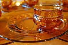 6 Vintage Indiana Glass Amber King's Crown Thumbprint Snack Sets, Amber Glass Party Sets for 6, 12 pieces