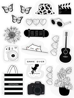 Preppy Stickers, Cute Laptop Stickers, Kawaii Stickers, Cool Stickers, Printable Planner Stickers, Journal Stickers, Scrapbook Stickers, Mobile Stickers, Black And White Stickers