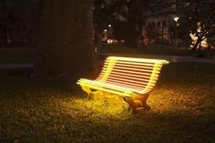 Ivan Navarro and Courtney Smith, Street Lamp (Yellow Bench), 2012, Neon, cement, metal and electric energy