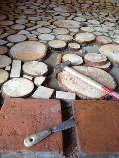 finishing the wood part Source by theblavacka. Wood Pallet Flooring, Aquaguard Flooring, Bedroom Flooring, Wood Slab, Wood Pallets, Rustic Outdoor Spaces, Cordwood Homes, Modern Entrance Door, Masonry Work