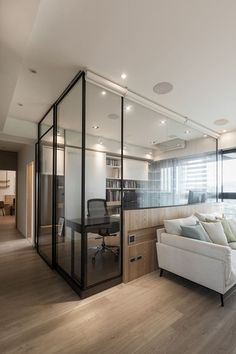 Room divider: 60 models of decoration and materials - Decoration, Architecture, Construction, Furniture and decoration, Home Deco Office Interior Design, Office Interiors, Study Room Design, Glass Room, Glass Walls, Wood Glass, Apartment Interior, Apartment Ideas, Interior Architecture