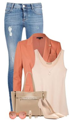 """""""Tangerine Blazer & Nude Pumps"""" by stay-at-home-mom ❤ liked on Polyvore"""