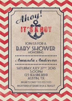 Printable Ahoy Its A Boy Baby Shower Invitation Nautical Red