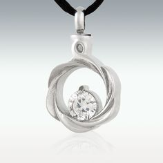 White Gem Wreath Stainless Steel Cremation Jewelry - Engravable