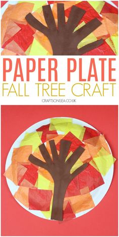 Easy Paper Plate Fall Tree Craft - Crafts on Sea This easy fall tree craft for kids can be adapted to suit different ages and it a great way for kids to explore the beautiful fall colours. Fall Crafts For Toddlers, Easy Fall Crafts, Toddler Crafts, Kids Diy, Leaf Crafts, Paper Plate Crafts, Tree Crafts, Diy Crafts, Decor Crafts