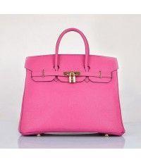 #6089 Hermes 35cm Epsom Leather Birkins Bag-Pink