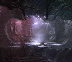 Organic shapes + alien ship pod interior for the movie THE THING #conceptart…