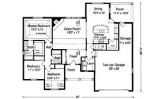 Traditional Style House Plans - 1593 Square Foot Home , 1 Story, 3 Bedroom and 2 Bath, 2 Garage Stalls by Monster House Plans - Plan 23-123