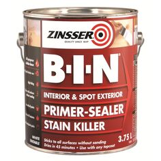 Zinsser B-I-N® is the original shellac-based primer and sealer stain blocker. It is formulated to seal, prime and block out tough stains on ...