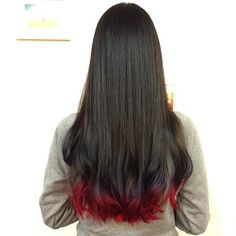 Two-toned dip dye. Dark base with brick red ends. Omotesando, Tokyo.