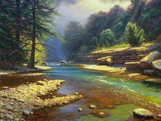 Frio River - Painting by Mark keathley