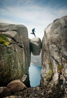 This Is Leap Of Faith!    Kjeragbolten  PHOTOGRAPHER: © Caterina Bernardi